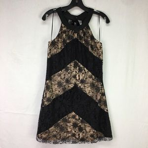 Max and Cleo Black/Cream Lace Back Bow Dress